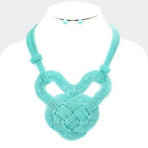 Knot Colored Mesh Metal Chain Bib Necklace